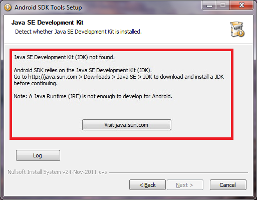 Android Error - The SDK installation does not detect the