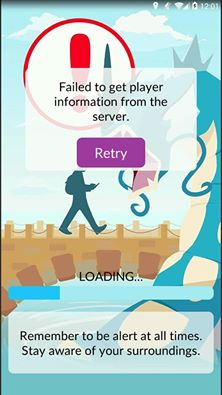 failed to get player information from server error in pokemon go
